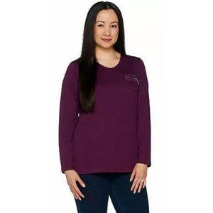 Quacker Factory Long Sleeve T-Shirt Zipper Detail